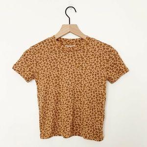 TopShop Leopard Print Short Sleeve Crop Top